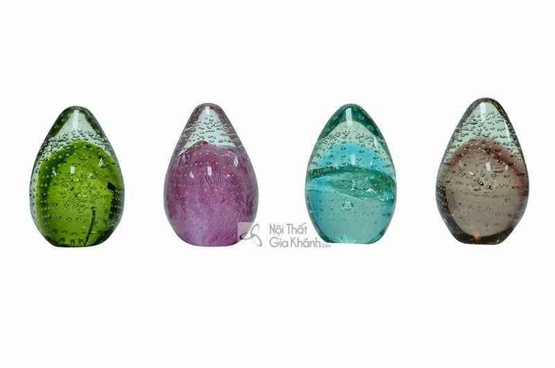 Trứng thủy tinh trang trí lạ mắt màu xanh ngọc 76166ASST
