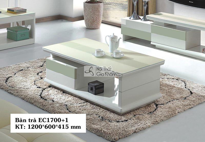 Bàn Trà (Bàn Sofa) Hiện Đại Phòng Khách Mặt Kính Cao Cấp Ec1700+1