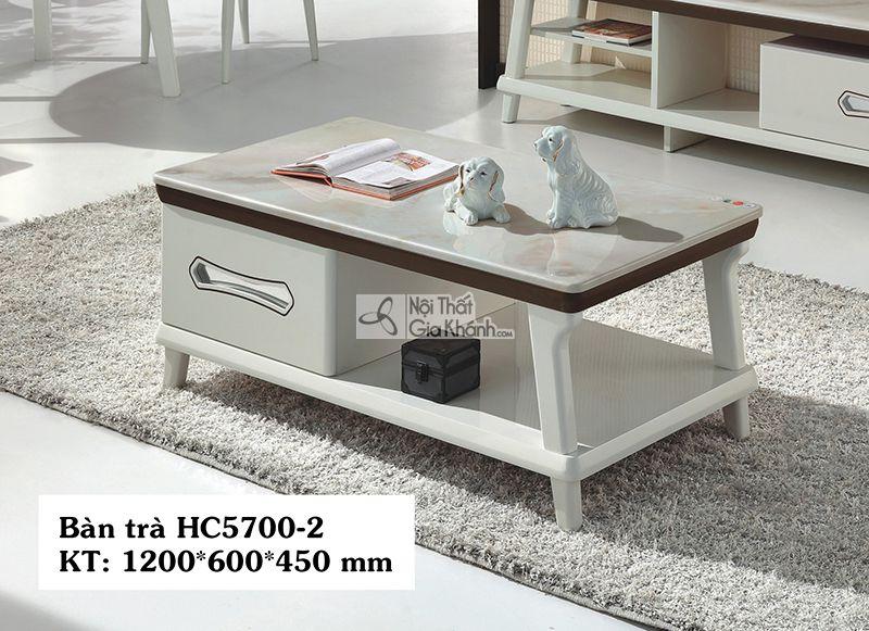 Bàn trà gỗ hiện đại phòng khách 1m2 mặt đá nhập khẩu HC5700-2