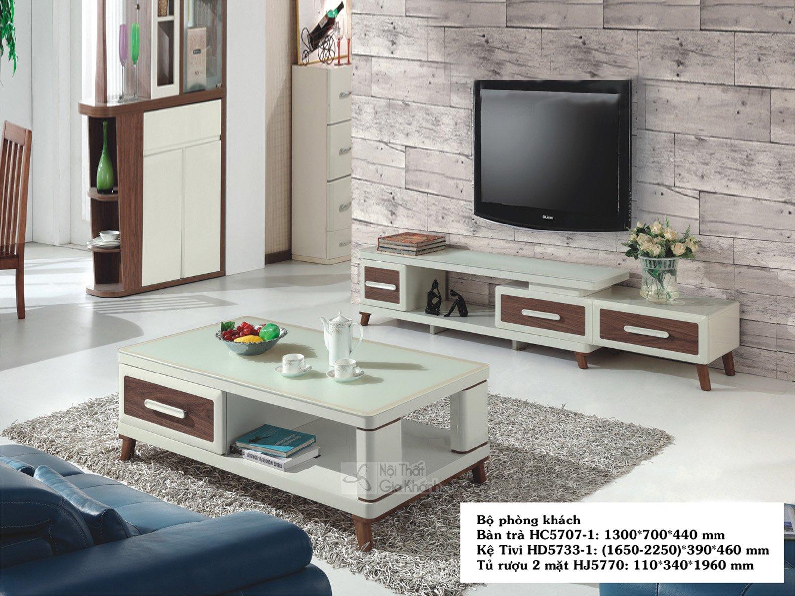 Bàn trà (Bàn sofa) phòng khách hiện đại gỗ mặt kính HC5707-1