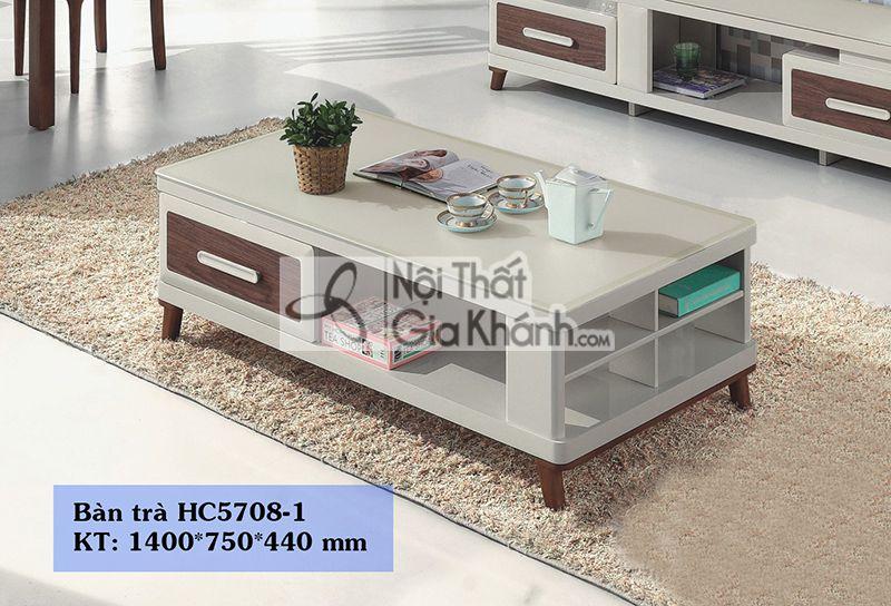 Bàn trà (Bàn sofa) gỗ mặt kính nhập khẩu cao cấp HC5708-1