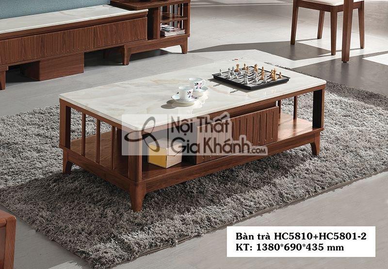 Bàn trà (Bàn Sofa) hiện đại 1m38 mặt đá gỗ HC5810+HC5801-2