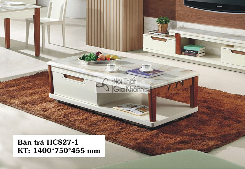 Bàn trà gỗ phòng khách hiện đại mặt đá 1m4 nhập khẩu đẹp hc827-1
