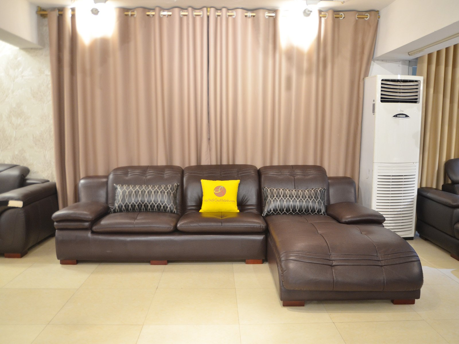 Sofa Da Nâu Cafe 2 Băng Góc Trái Nhập Khẩu H51Sf
