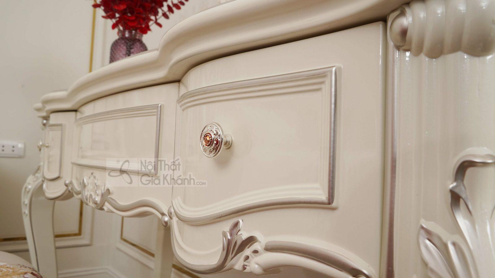 ban trang diem H8801C - Bàn trang điểm cô dâu màu trắng gỗ BD8801H