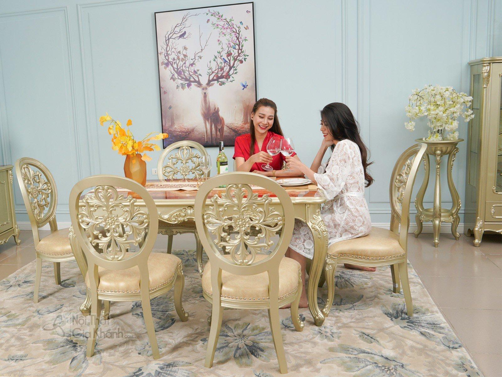 Bộ bàn ăn 6 ghế tân cổ điển 1.6M gỗ tự nhiên GK8801BBA1.6