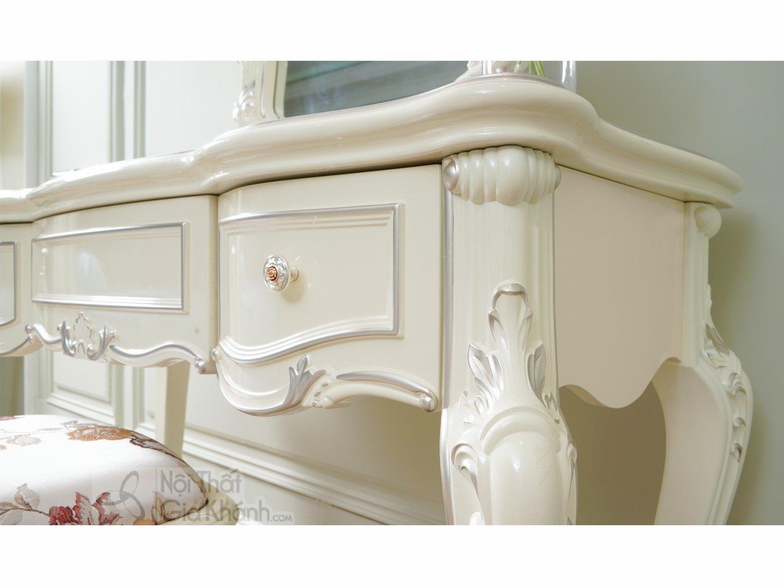 bo ban trang diem H8801C 1200x498x1800 6 - Bàn trang điểm cô dâu màu trắng gỗ BD8801H