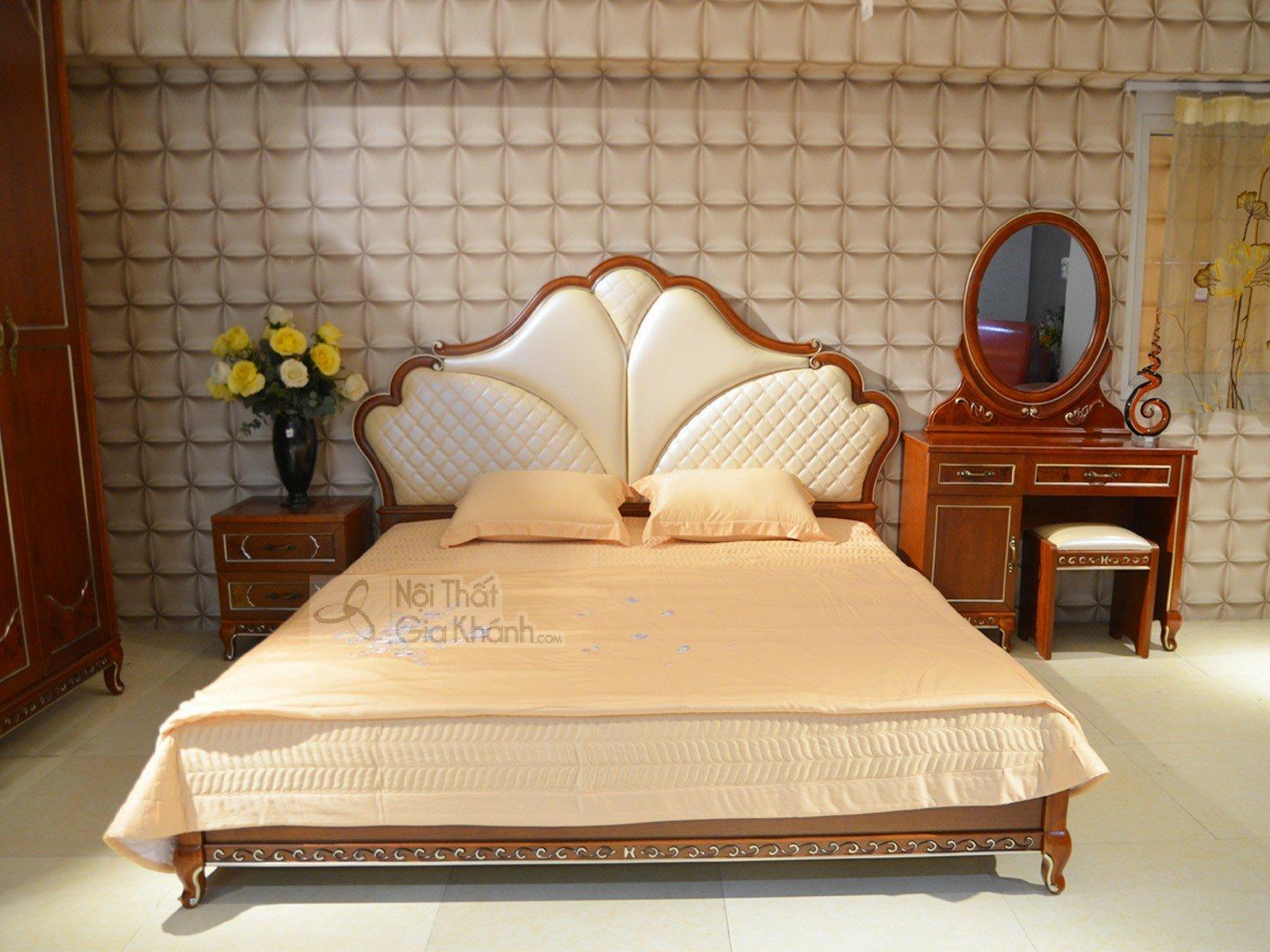 giường ngủ tân cổ điển 9981AL 2085x2115x1438 - Bộ phòng ngủ tân cổ điển bọc da cao cấp 39981BG
