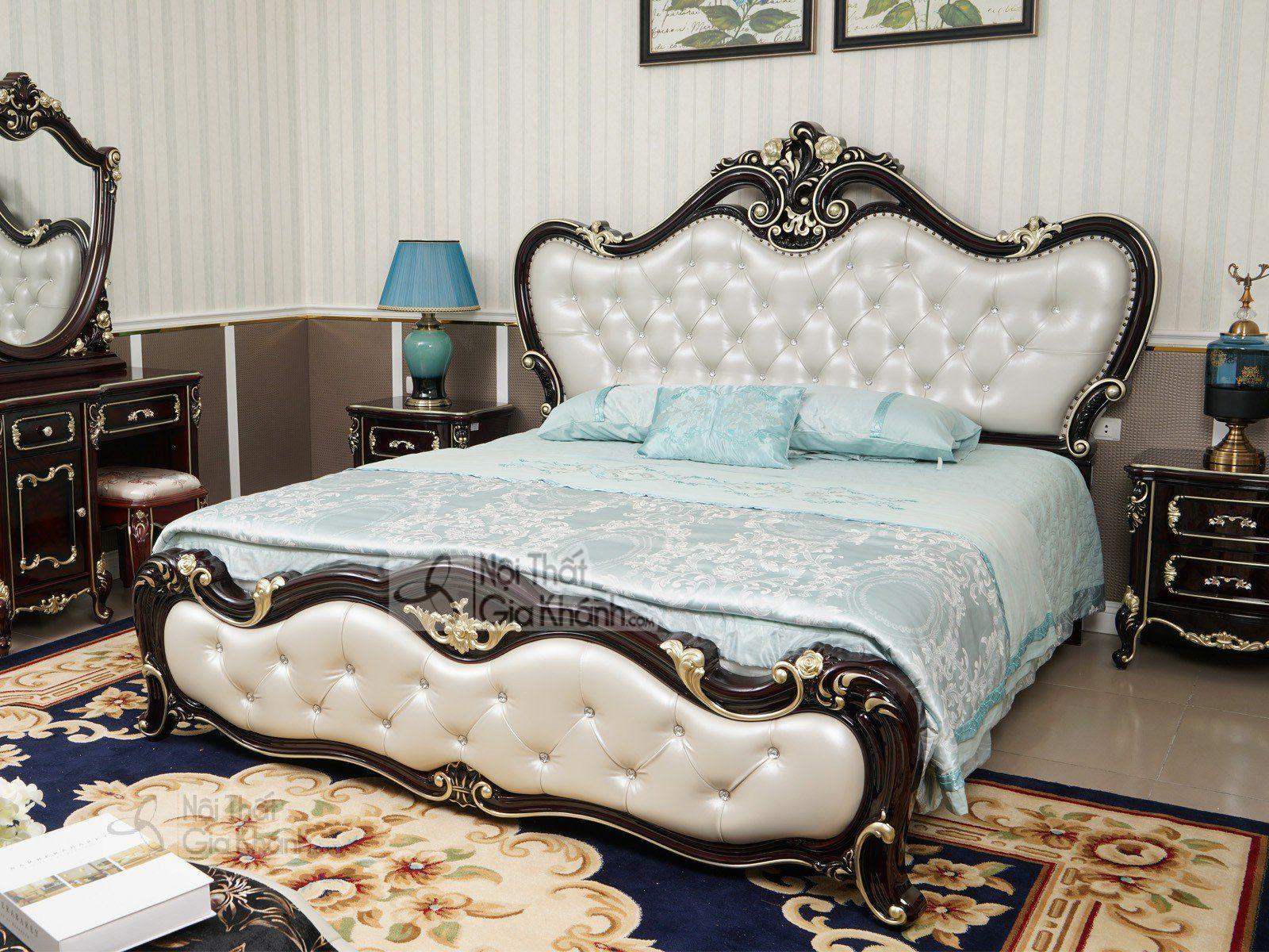 giuong ngu tan co dien G8802AL 2240x2200x1635 2 - Giường ngủ màu nâu tân cổ điển gỗ cao cấp GI8802G