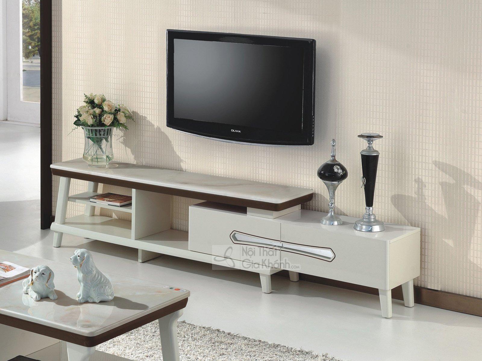 Kệ tivi phòng khách hiện đại gỗ công nghiệp mặt đá đa năng HD5730-2