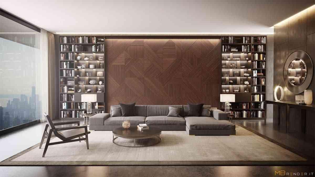 Showroom Noi That Nhap Khau Bookcases Panelled Wall