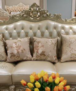 Bộ Sofa Da Phòng Khách Tân Cổ Điển 3 Băng Gk931Sf