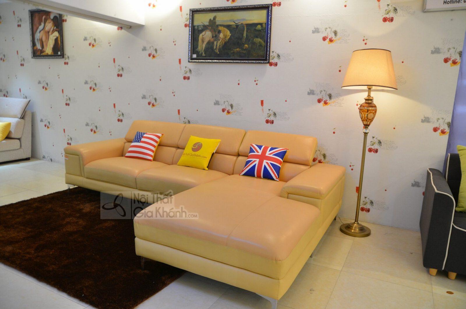 sofa da 1060 vàng đậm 2900x1850 6 - GHẾ SOFA DA GÓC TRÁI ĐẸP HIỆN ĐẠI MÀU VÀNG 2 BĂNG 1060SF2GT