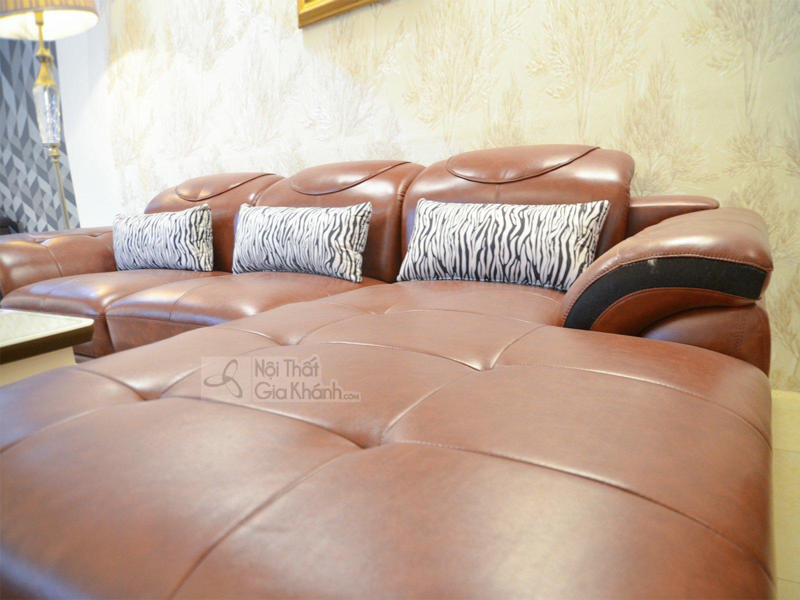 sofa da màu nâu bò 919B 3 - SOFA NÂU BÒ HIỆN ĐẠI 3 BĂNG GÓC TRÁI 9191B-SF