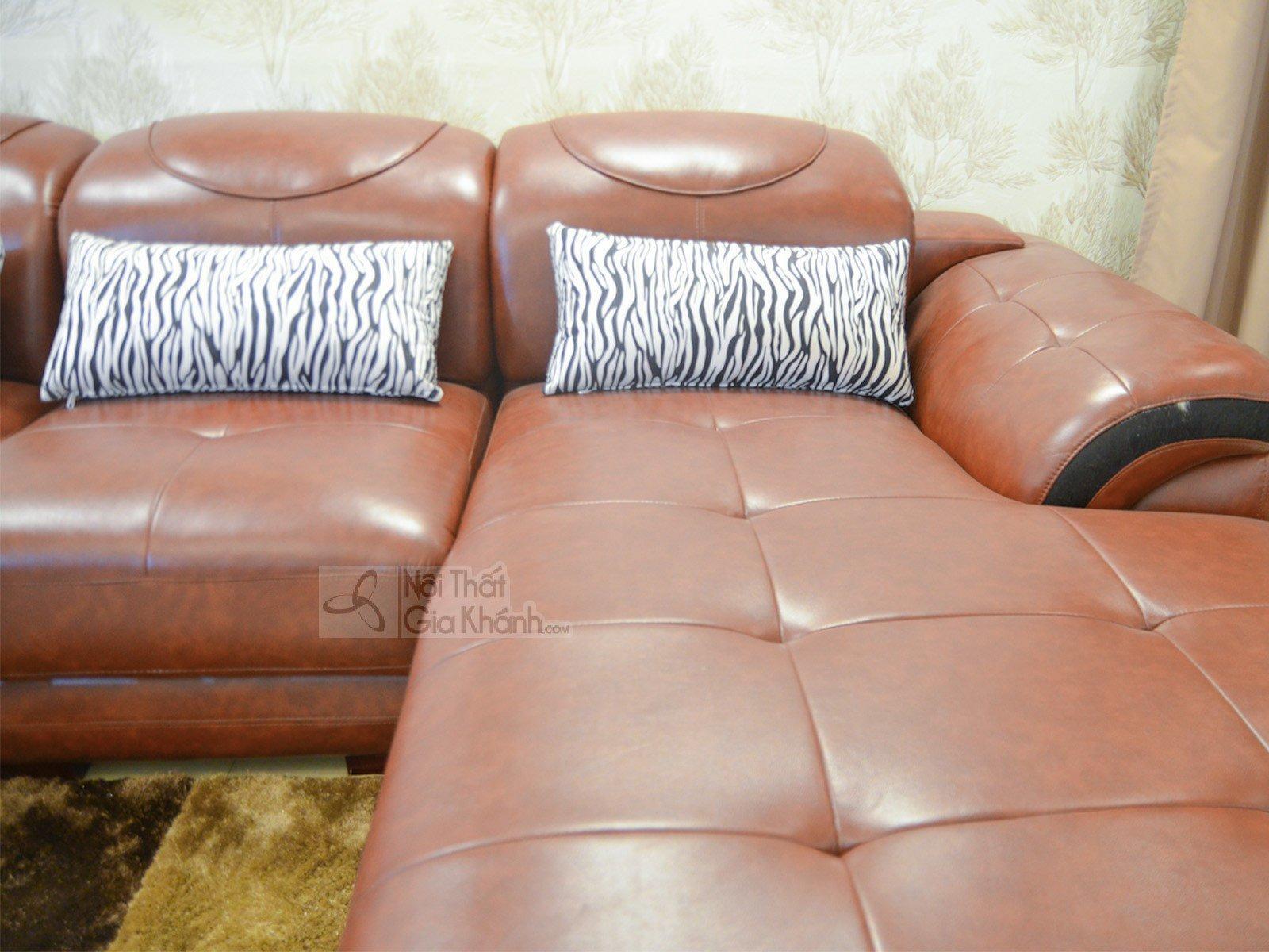 sofa da màu nâu bò 919B 4 - SOFA NÂU BÒ HIỆN ĐẠI 3 BĂNG GÓC TRÁI 9191B-SF