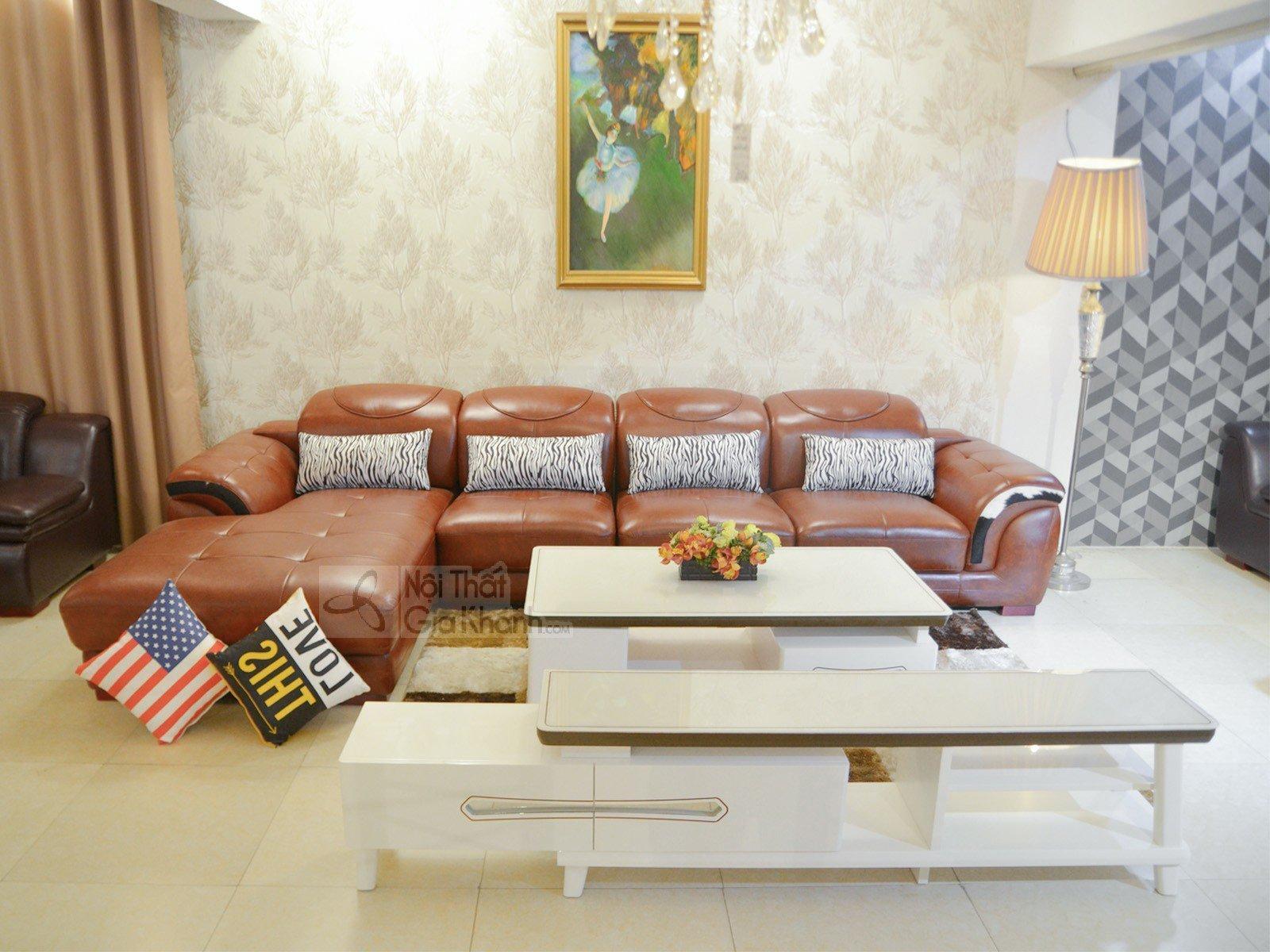 Sofa Da Nâu Bò 3 Băng Góc Phải 9192B-Sf