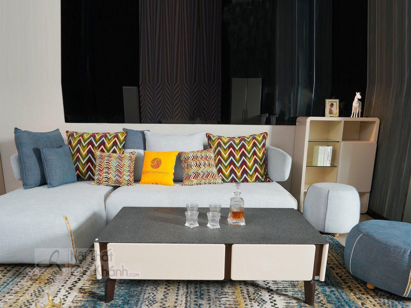 Sofa Phòng Khách Chung Cư Nỉ Nhập Khẩu Độc Đáo 3342Sf
