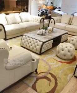 Bộ Sofa - Bàn Trà - Kệ Ti Vi Đồng Bộ Tân Cổ Điển Phong Cách Ý V001Sf