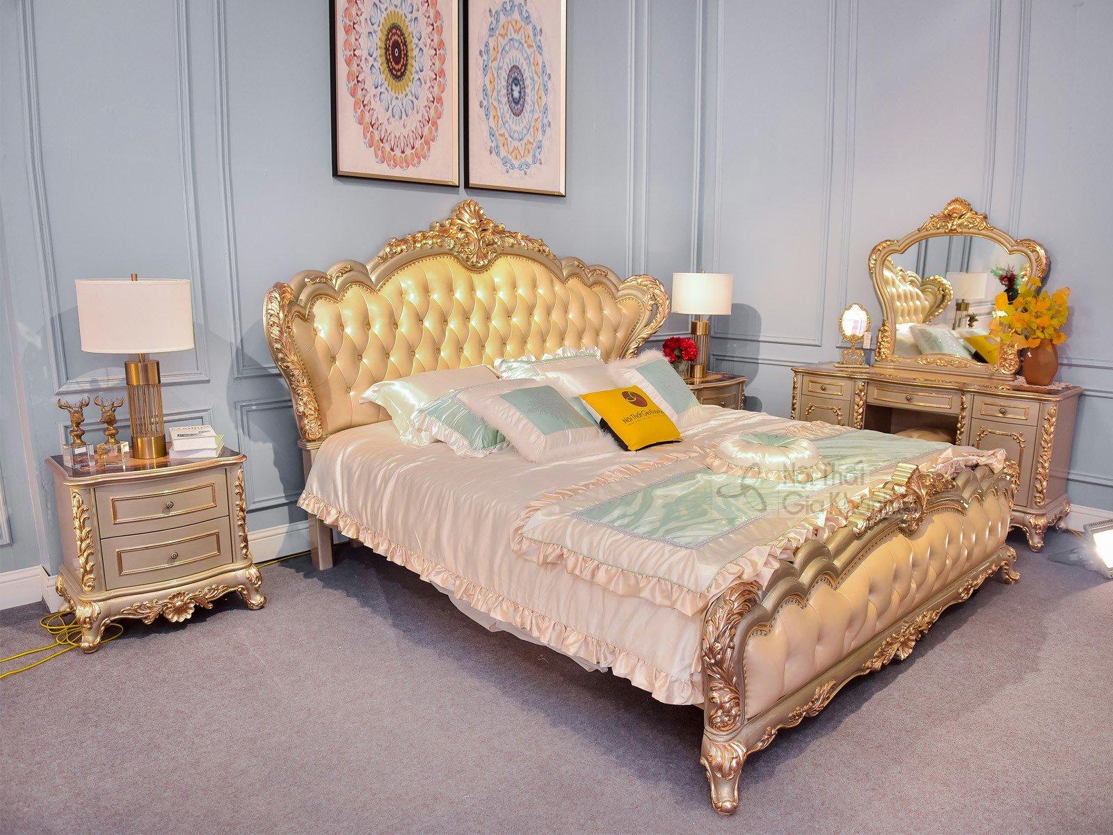Bộ Phòng Ngủ Tân Cổ Điển Hoàng Gia Pháp Dát Vàng 24K-The Diamond King