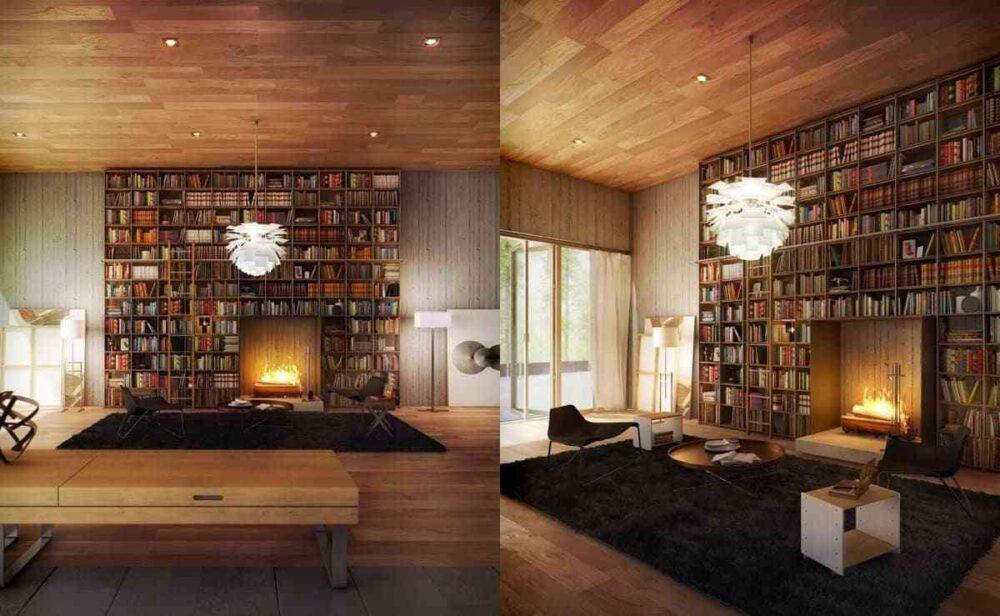 Tủ sách cho phòng khách sang trọng